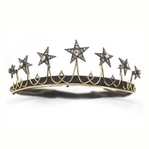 Antique Victorian Diamond Silver Gold Star Tiara