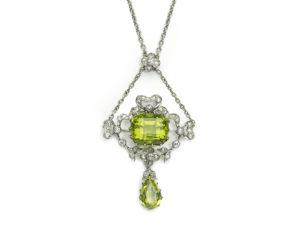 Edwardian Peridot Diamond Pendant August Birthstone