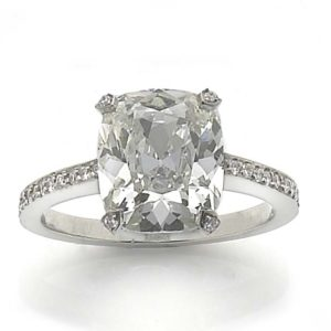 Cushion cut diamond ring over 4 carats platinum old mine cushion diamond jewellery Discovery