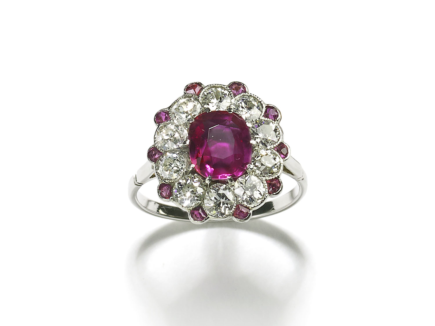 Burma Ruby Diamond Platinum Cluster Ring
