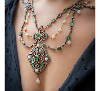 Antique emerald pearl diamond necklace bracelet swag