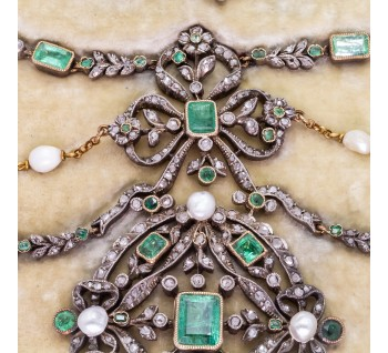 Georgian necklace Antique pearl-emerald-diamond-suite