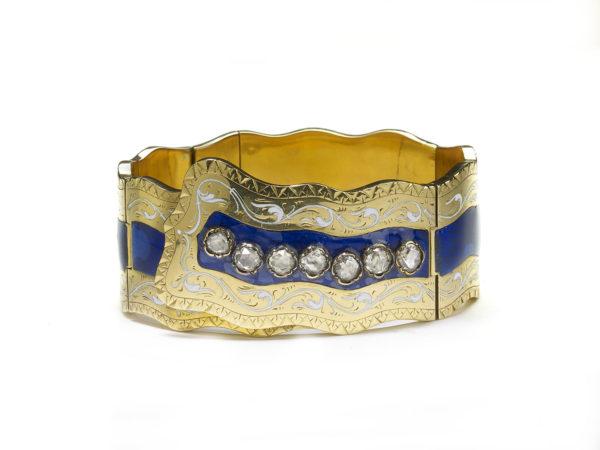 Victorian Enamel Diamond Gold Bangle Bracelet