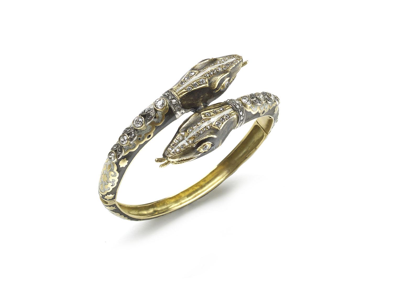 Enamel Diamond Gold Double Headed Snake Bangle Bracelet