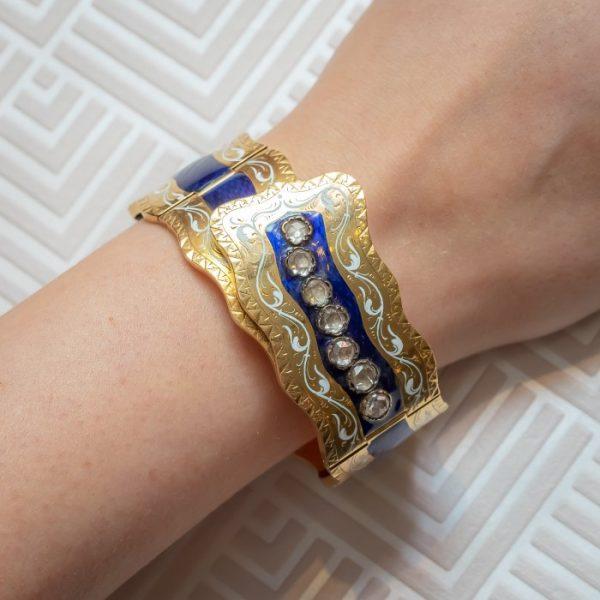VICTORIAN ENAMEL DIAMOND & GOLD BANGLE
