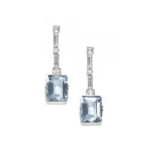 Vintage Diamond Set Aquamarine Drop Earrings