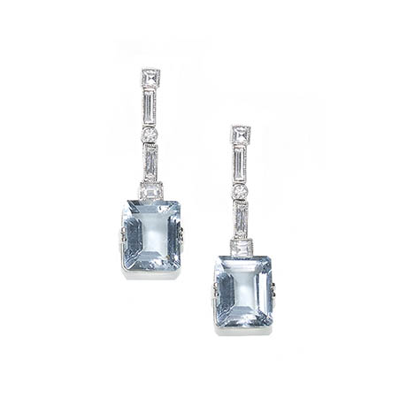Vintage Diamond Set Aquamarine Drop Earrings Jewellery