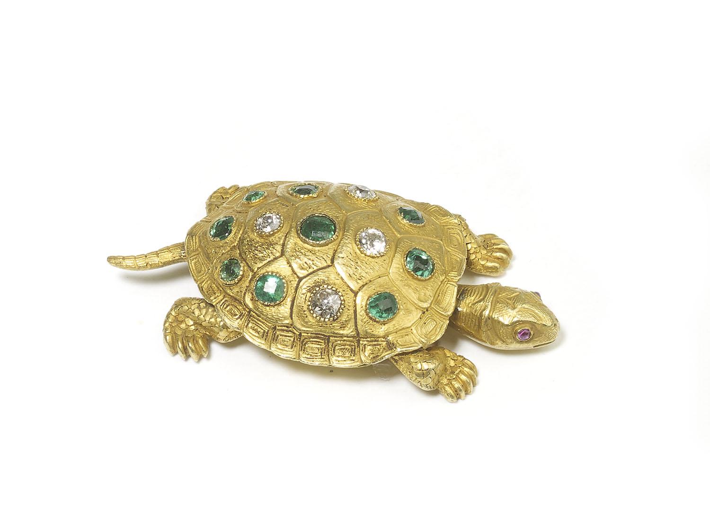 Victorian Edmond Plisson Emerald Diamond Gold Turtle Brooch