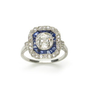 Art Deco Sapphire Diamond ring square cushion shape Platinum Ring