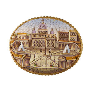 Late Victorian St Peters Square, Vatican City Micro Mosaic Gold Brooch
