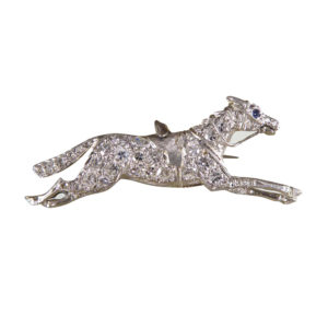 Vintage 1940s Platinum Diamond and Sapphire Racing Horse Brooch