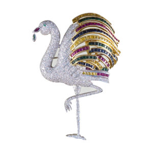 Vintage Diamond, Sapphire, Emerald, Ruby Replica Cartier Flamingo Brooch in 18ct Gold