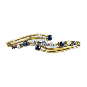 Antique Edwardian Diamond and Sapphire Bangle Bracelet in 15ct Gold