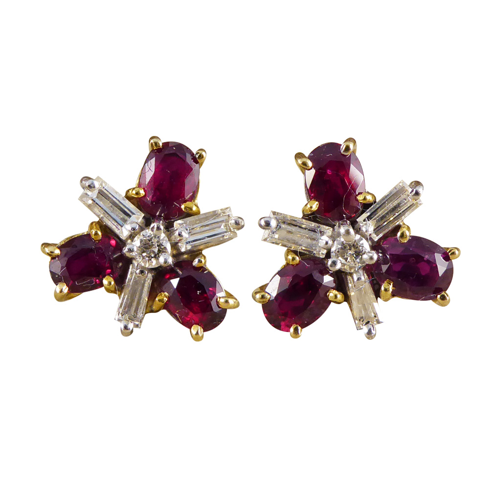 f2103eb5896ee Contemporary Ruby and Diamond Cluster Earrings in 18ct Gold