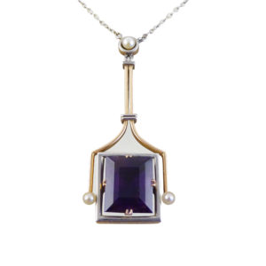 Amethyst & Pearl Pendant On Art Deco Chain