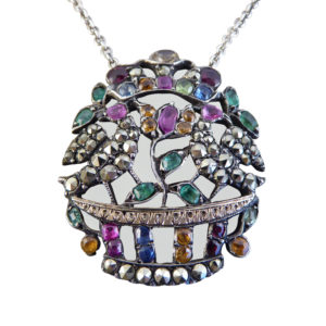 Edwardian Multi-Gem set Marcasite Bird Pendant