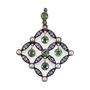 Edwardian Peridot Diamond and Pearl Drop Pendant