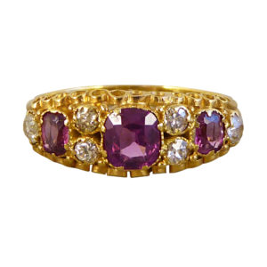 Victorian Almandine Garnet and Diamond Gold Ring
