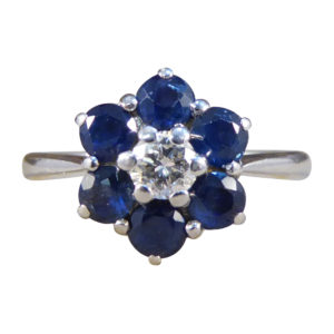 Graff Sapphire and Diamond Flower Cluster Ring