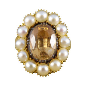 Victorian Orange Topaz and Pearl Ring