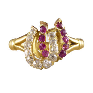 Edwardian Ruby and Diamond Double Horseshoe Ring