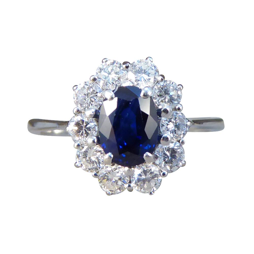 Sapphire Diamond Engagement Ring Art Deco