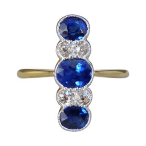 Edwardian Sapphire and Diamond Vertical Five Stone Ring