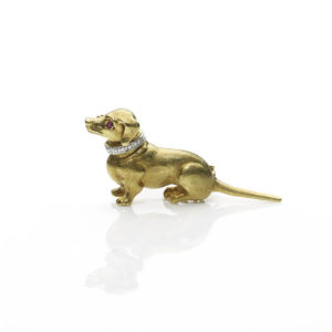 Dachshund gold brooch