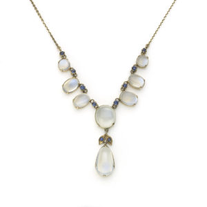 Antique moonstone and sapphire necklace