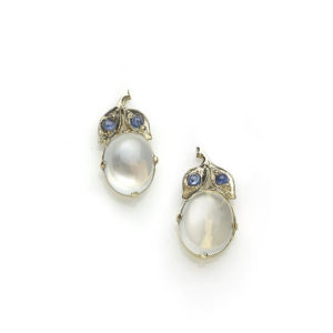Antique moonstone and sapphire earrings
