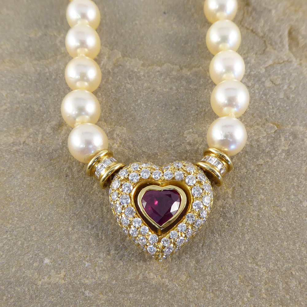 Diamond and Ruby Heart Clasp Pearl Necklace — Jewellery ...
