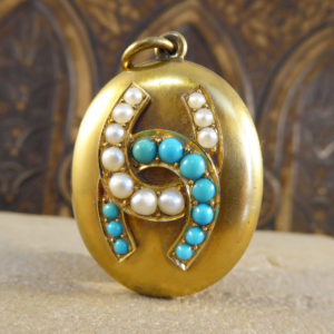 Victorian Turquoise and Pearl Horseshoe Locket Pendant