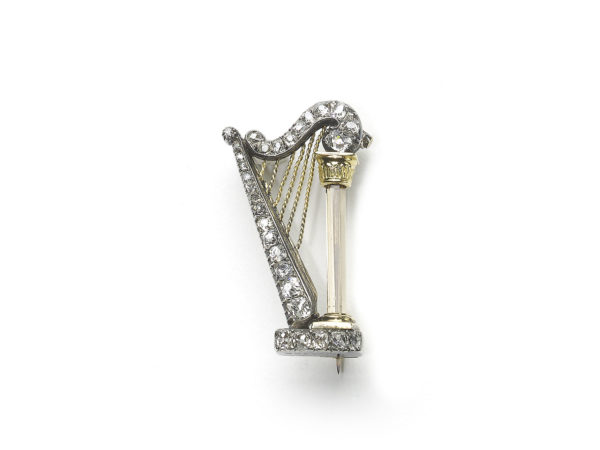 Victorian Diamond Harp Brooch