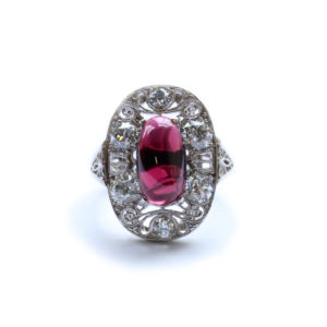 Edwardian Garnet & Diamond Cluster Ring