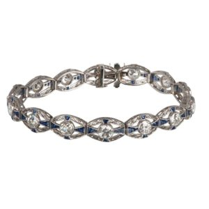 Edwardian sapphire and old cut diamond bracelet