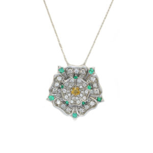 Yellow Sapphire, Emerald & Diamond Yorkshire Rose Pendant