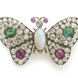 Antique butterfly brooch emerald ruby opal diamond old cut silver and gold