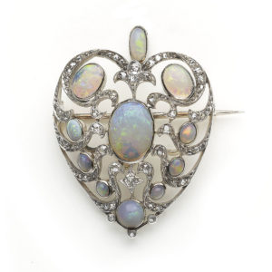 Antique Late Victorian Opal Heart Brooch Pendant