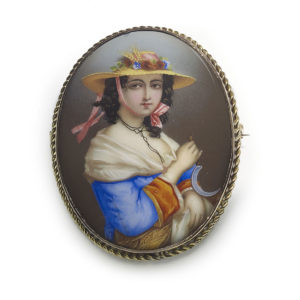 Antique Victorian Hand Painted Swiss Enamel Portrait of a Lady Brooch