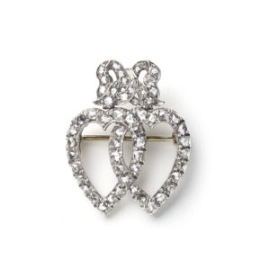 Victorian Diamond Double Heart and Bow Brooch