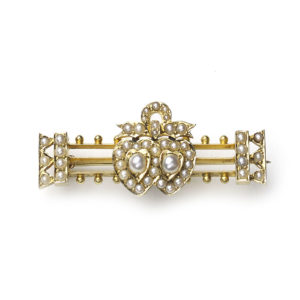 Victorian Seed Pearl Gold Double Heart and Bow Brooch