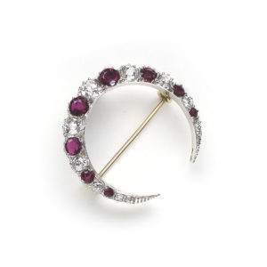 Victorian Ruby Diamond Crescent Brooch
