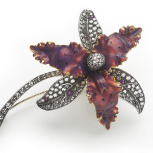 Moira Red Enamel, Diamond & Ruby Orchid Brooch