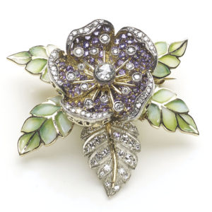 Moira Purple Sapphire and Diamond Rose Flower Brooch