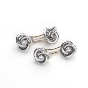 Art Deco French Diamond Gold Platinum Knot Cufflinks