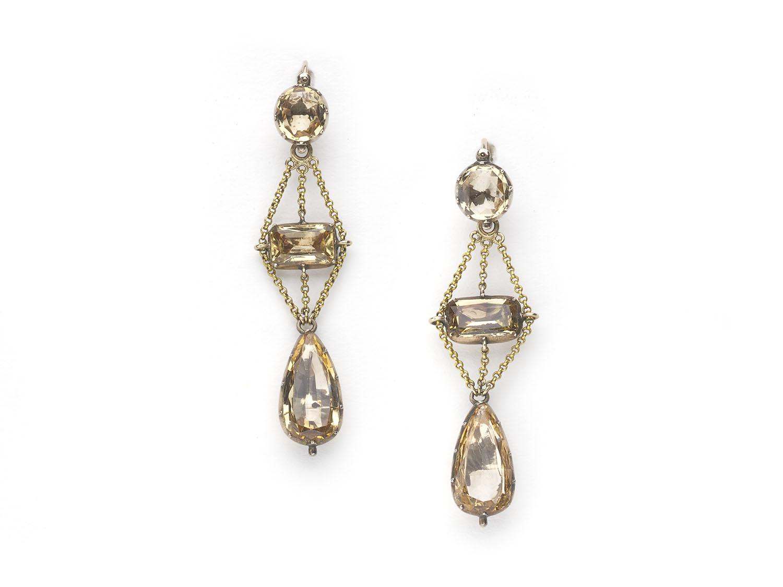 Georgian Topaz Gold Drop Earrings