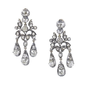 Antique diamond earrings victorian drops silver and gold