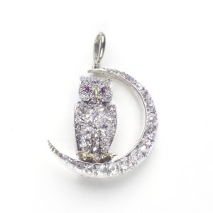 Victorian Owl and Crescent Brooch