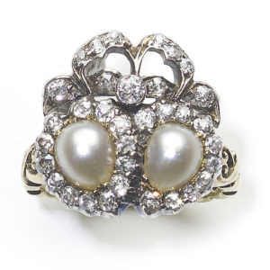 Antique Victorian Pearl and Diamond Double Heart and Bow Ring