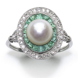 Antique Art Deco Platinum Pearl Emerald & Diamond Target Ring